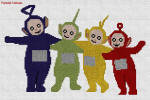 Teletubbies en punto de cruz